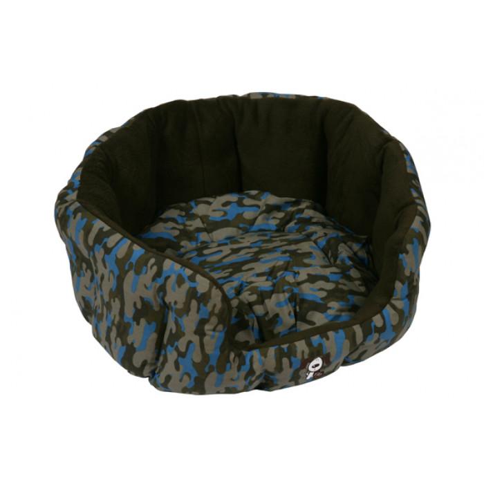 Camouflage oval bed, sininen 55cm