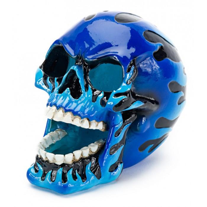 Liekehtivä pääkallo - sininen