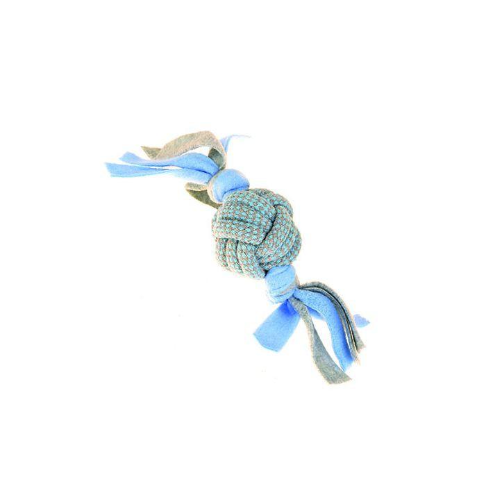 Little Rascals Fleecy Rope Ball Tugger Blue