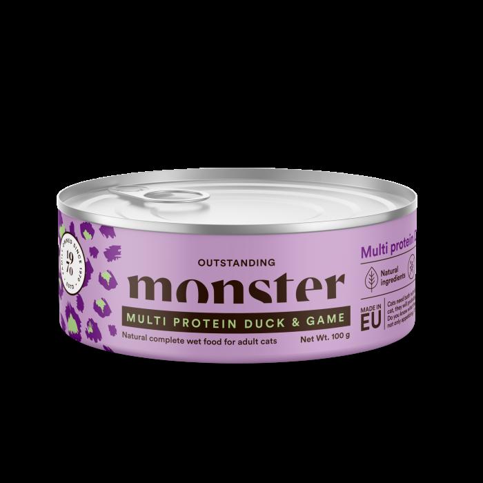 Monster Multi Protein kissan purkkiruoka Duck & Game 100g