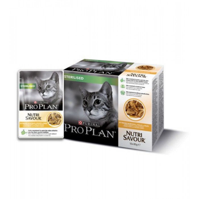 Purina Pro Plan säilyke Sterilised Cat kanaa 2kpl / 10x85g